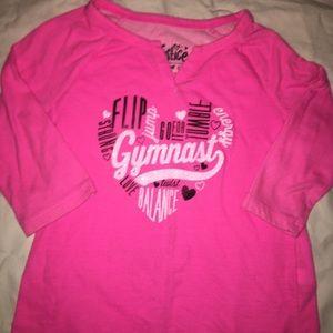 Pink Justice Gymnastics shirt